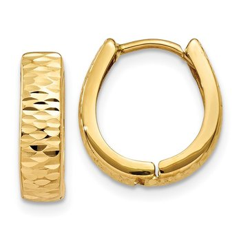 14K Gold Textured and Polished Hinged Hoop Earrings