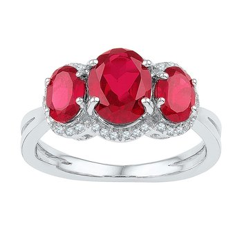 10kt White Gold Womens Oval Lab-Created Ruby 3-stone Diamond Ring 2-3/4 Cttw