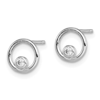 Sterling Silver Rhodium-plated CZ Circle Post Earrings