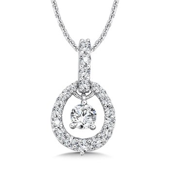 Diamond Pendant with Diamond Bale in 14K White Gold (1/3ct. tw.)