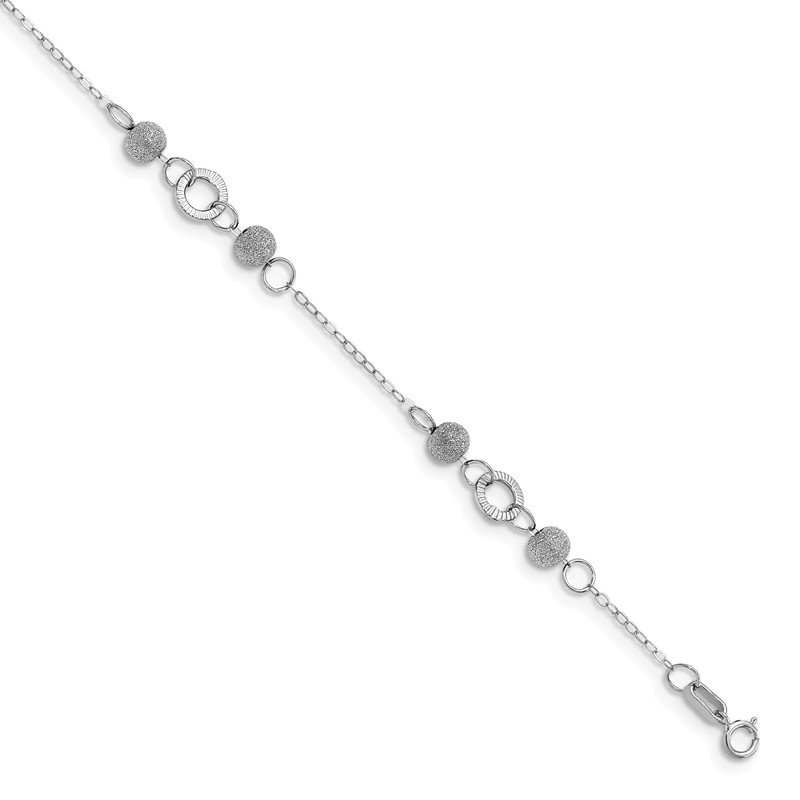 Leslie's Leslie's 14K White Gold Polished and Laser Textured Anklet