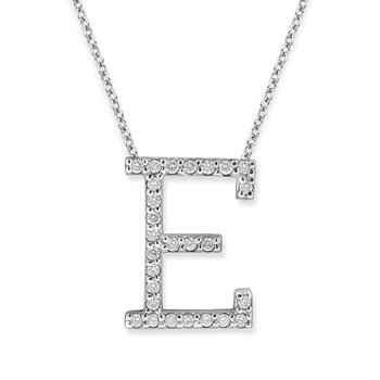 "Diamond All Star Initial ""E"" Necklace in 14K White Gold with 27 diamonds weighing .27ct tw."