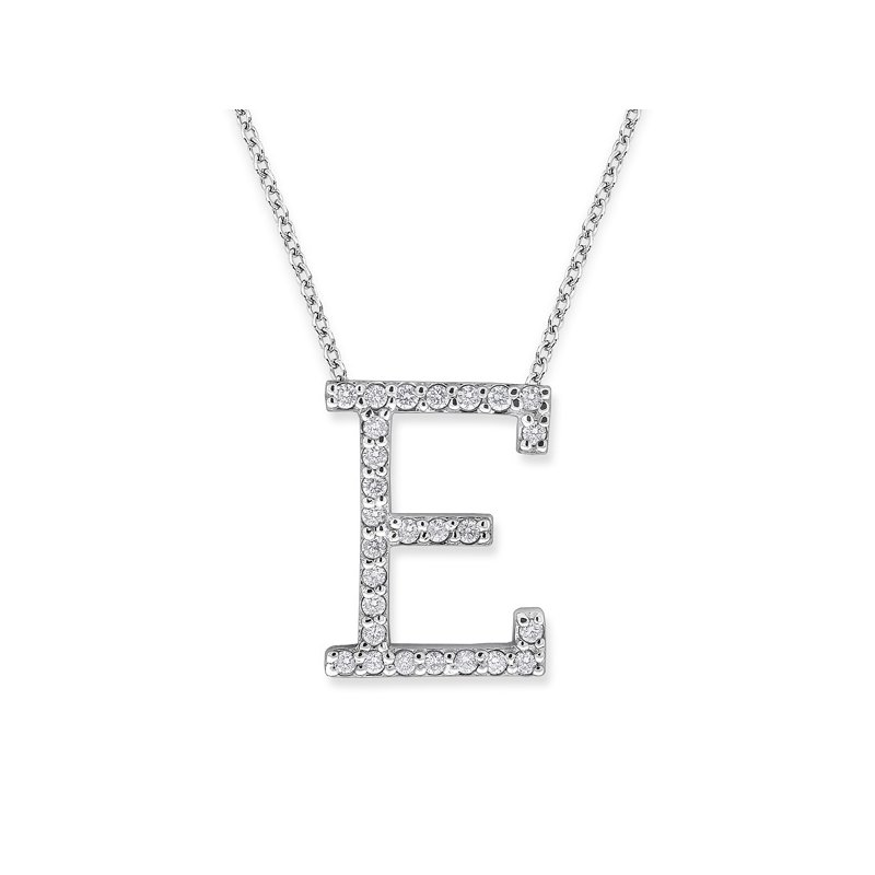 "KC Designs Diamond All Star Initial ""E"" Necklace in 14K White Gold with 27 diamonds weighing .27ct tw."