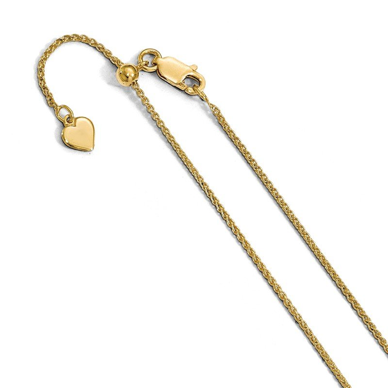 Leslie's Leslie's Sterling Silver 1.2 mm Gold-plated Adjustable Wheat Chain