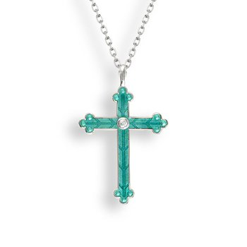 Green  Cross Necklace.Sterling Silver-White Sapphire