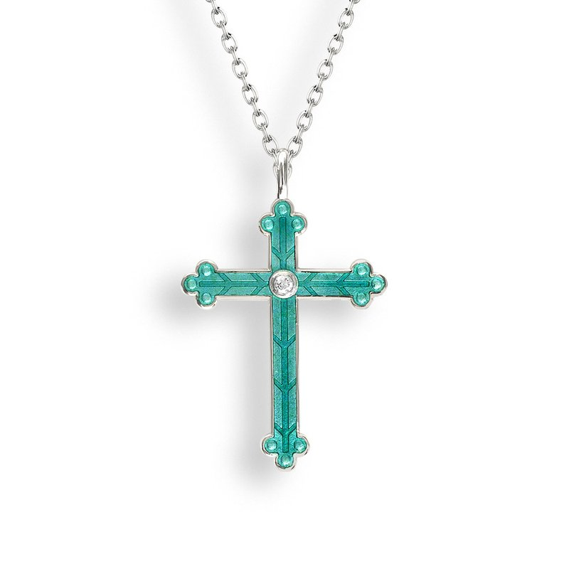 Nicole Barr Designs Green  Cross Necklace.Sterling Silver-White Sapphire