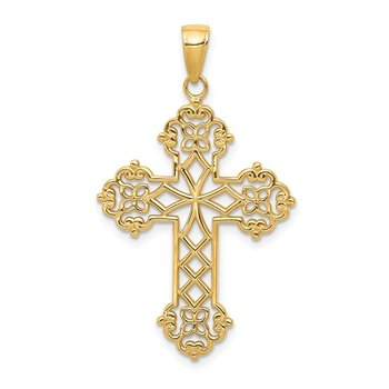 14K Lacey Budded Cross Pendant