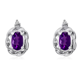 14k White Gold Amethyst Scroll Diamond Earrings