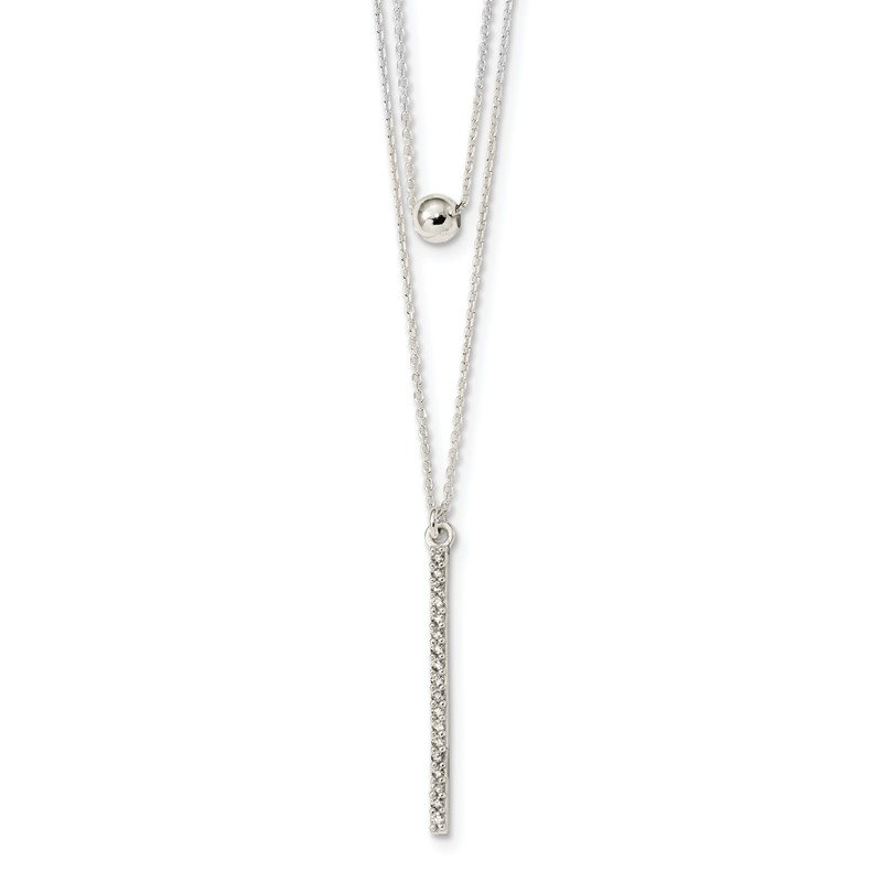 Quality Gold Sterling Silver Polished CZ Bar and Bead 2-Strand 16in Necklace