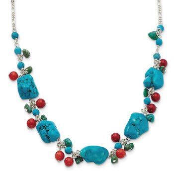Sterling Silver Dyed Howlite/Turquoise/Red Coral Necklace
