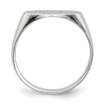14k White Gold 6.5x12.0mm Closed Back Signet Ring