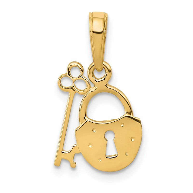 Quality Gold 14K Polished Key and Lock Charm