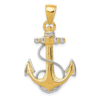 14K w/ Rhodium Anchor W/Rope Pendant