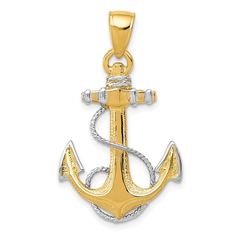 Quality Gold 14K w/ Rhodium Anchor W/Rope Pendant