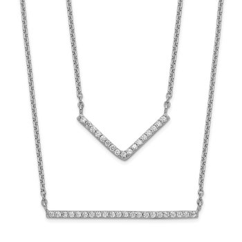 Sterling Silver Rhodium-plated CZ Double Bar Multi-Strand Necklace