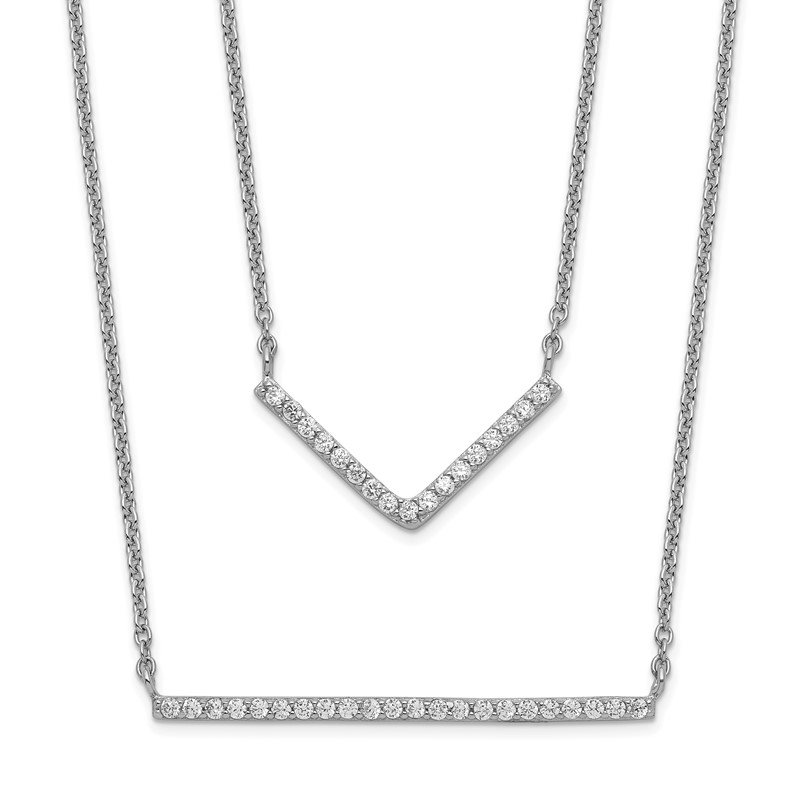 Quality Gold Sterling Silver Rhodium-plated CZ Double Bar Multi-Strand Necklace