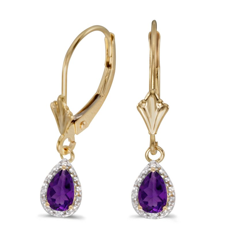 Color Merchants 14k Yellow Gold Pear Amethyst And Diamond Leverback Earrings