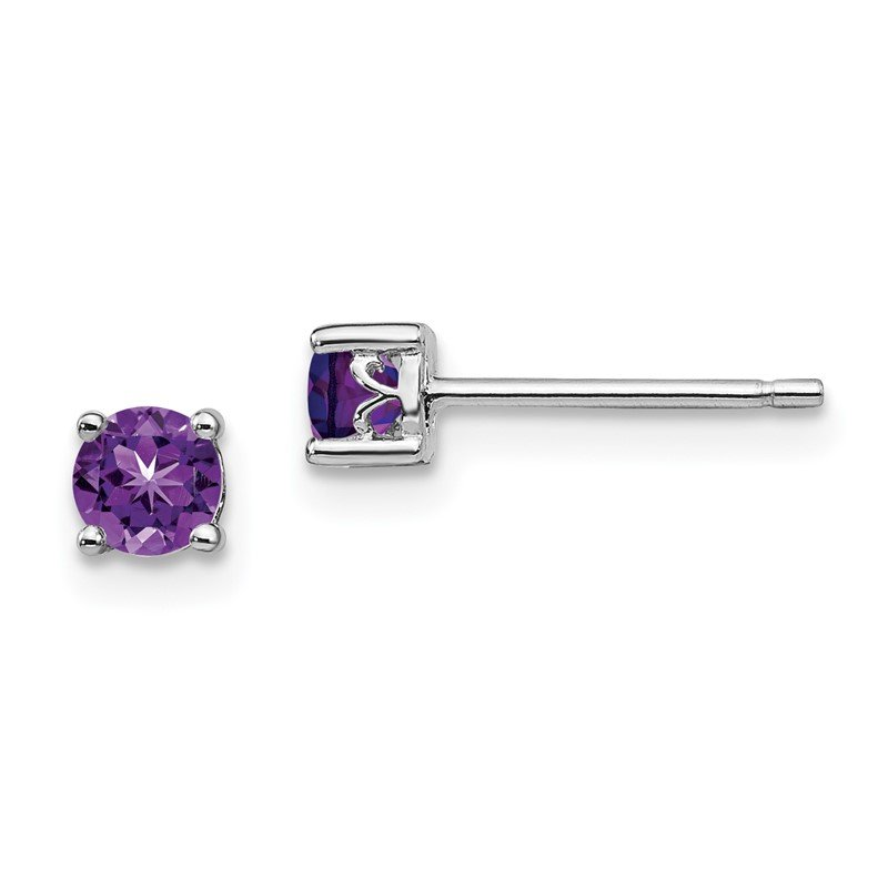 Quality Gold Sterling Silver Rhodium-plated 4mm Round Amethyst Post Earrings